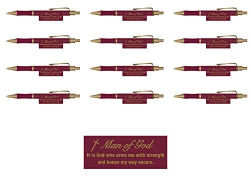 (Man of God Burgundy Christian Executive Pens Retreat Gifts (Set of 12))