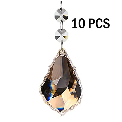 Fushing 10Pcs Maple Leafs Clear Crystal Beads Drop Pendants Curtain Chandelier Prisms Lamp Chain Handing for Wedding Party Decoration (Crystal Prism Pendant)