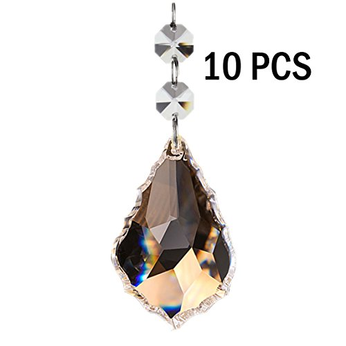 Fushing 10Pcs Maple Leafs Clear Crystal Beads Drop Pendants Curtain Chandelier Prisms Lamp Chain Handing for Wedding Party Decoration (38mm)