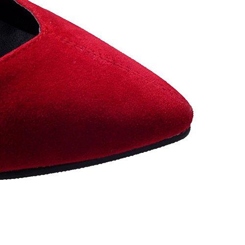 Pelle Voguezone009 Rosso Tacco Di Donna Alto Scarpe Punta Tirare Ballerine Puro Chiusa A Mucca qO5qxwvr