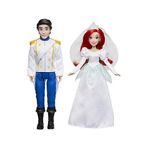 Disney Princess Ariel and Prince Eric, 2 Fashion Dolls from The Little Mermaid Movie, Doll in Wedding Dress, Tiara, and Shoes, Toy for 3 Year Olds and Up ()