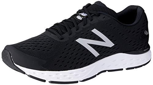 New Balance Men's 680v6 Cushioning Running Shoe, Black/Silver Metallic/White, 12 4E US