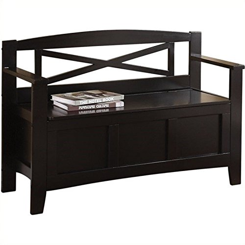 Office Star Metro X-Back Style Wood Entry Way Bench with Storage, Black finish (Black Entry Bench)