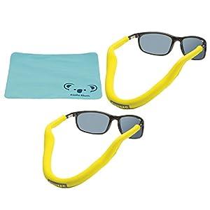 Chums Floating Neoprene Eyewear Retainer Sunglass Strap | Eyeglass & Glasses Float | Water Sports Holder Keeper Lanyard | 2pk Bundle + Cloth, Yellow