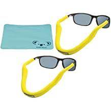 Chums Floating Neoprene Eyewear Retainer Sunglass Strap | Eyeglass & Glasses Float | Water Sports Holder Keeper Lanyard | 2pk Bundle + Cloth