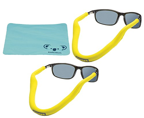 Chums Floating Neoprene Eyewear Retainer Sunglass Strap | Eyeglass & Glasses Float | Water Sports Holder Keeper Lanyard | 2pk Bundle + Cloth, Yellow -