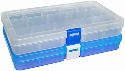 DUOFIRE 高品質アクセサリー収納 小物収納ケースボックス 透明 整理箱 パーツ入れ コレクション ボックス 小物入れ 雑貨入れ 時計ケース【Sサイズ 2色セット】(15グリッド 蓋付き, ホワイト+ブルー)