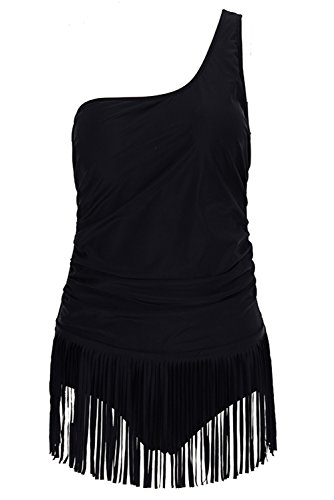 Papaya Wear Womens One Shoulder Swimsuit One Piece Fringe Bathing Suit BK3 - Swim Female Wear