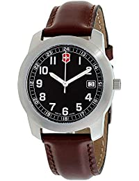 Mens Quartz Stainless Steel and Leather Casual Watch, Color:Brown (Model: VICT26012