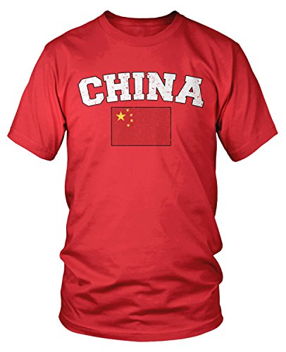 Amdesco Men's Chinese Flag, Flag of China T-Shirt, Red Large