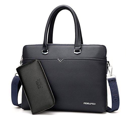 Hombre Clásico Paquete Comercial Bolsa Casual Bolsa De Ordenador Bolsa De Hombro Bolsa Maletín Blue+wallet