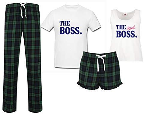 His And Hers Christmas Pajamas (The Boss The Real Boss Couples Matching Pyjama Tartan Set Couples Pajamas Christmas Birthday)
