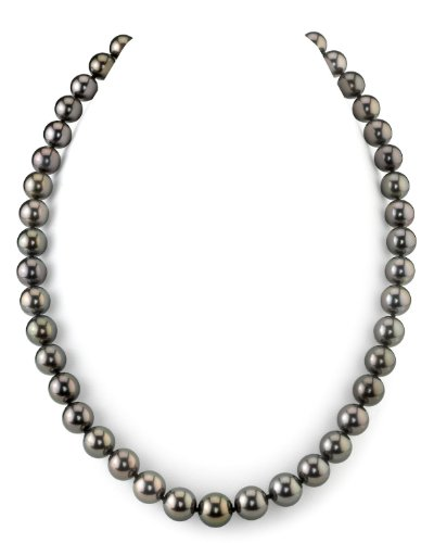 (THE PEARL SOURCE 14K Gold 8-10mm AAAA Quality Round Genuine Peacock Tahitian South Sea Cultured Pearl Necklace in 18