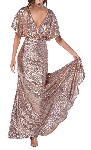 Sequin Bridesmaid Dresses Long V Neck Mermaid Prom Evening Gown Party for Women 2019 Rose Gold 18 ()