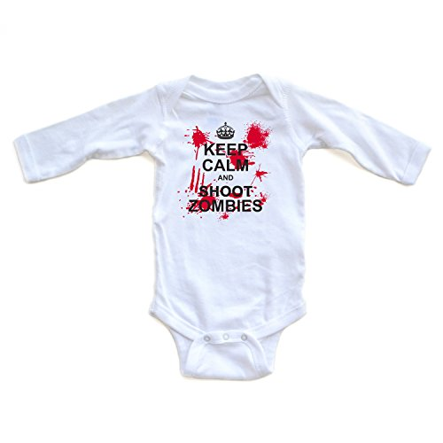 KEEP CALM AND SHOOT ZOMBIES with Awesome Graphics on White Long Sleeve Baby Bodysuit (6 (Zombie Baby Clothes)