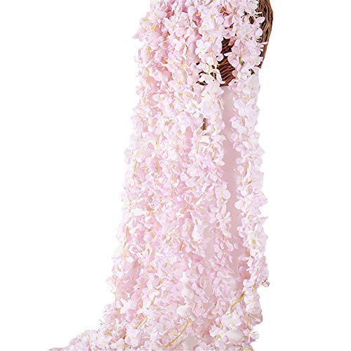 Crt Gucy 2 Pack 13 FT Artificial Hydrangea Flower Vine Wisteria Vines Cattleya Flowers Plants For Home Hotel Office Wedding Party Garden Craft Art Décor, Pink ()