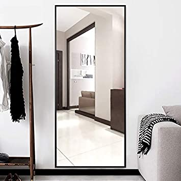ONXO Full Length Mirror Large Floor Mirror Standing or Wall-Mounted Mirror Dressing Mirror Frame Mirror for Living Room Bedroom Cloakroom 65 X22 , Black