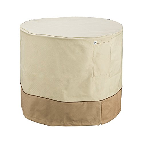 "Villacera Air Conditioner Cover Round, Beige & Brown 34"" Diameter"
