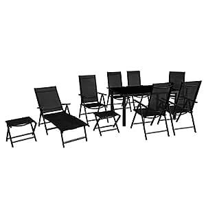 vidaXL–Juego de muebles de jardín de aluminio de 10pcs