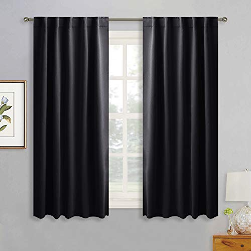 Pocket Rod Lodge Drapes (RYB HOME Bedroom Black Out Curtains, Small Window Treatment Set Energy Saving Thermal Insulated Drapes with Top Back Tab & Rod Pockets, 42 inch Wide x 45 inch Long, Black, 2 Panels)