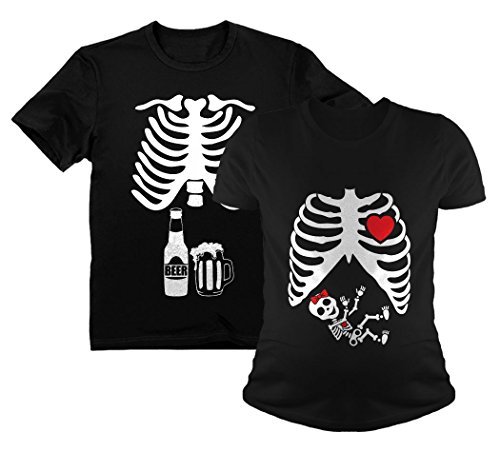 Halloween Skeleton Maternity Shirt Baby Girl X-Ray Matching Couples Set Beer Tee Dad Black Medium/Mom Black Small for $<!--$31.95-->