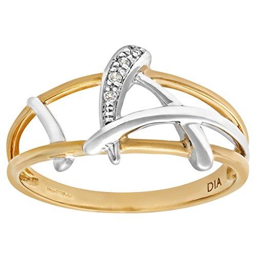 Bague Femme - Or jaune (9 cts) 1.5 Gr - Diamant 0.005 Cts