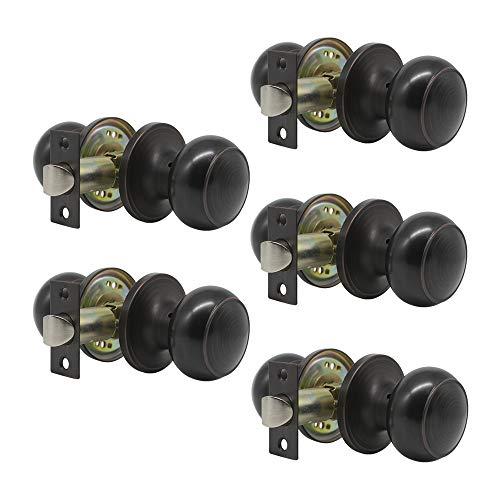 5 pack Probrico Interior Hallway Passage Closet Keyless Doorknobs Door Lock Lockset 609-ORB-PS in Oil Rubbed Bronze