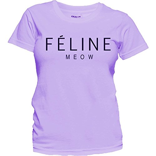 Women's Feline Meow Cat Lover Tee Celine Paris Parody Cute T-Shirt (S, Violet) (Celine Paris Tee)
