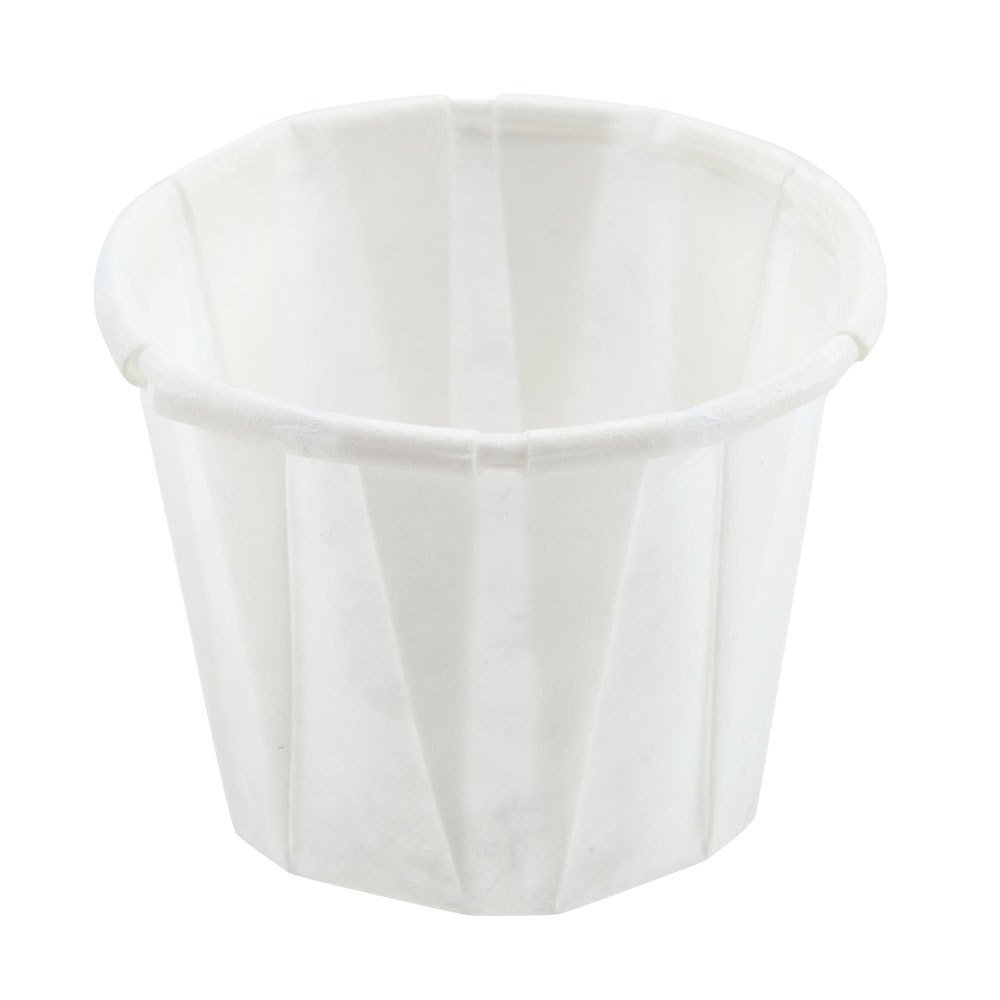 250 x 1.25oz Disposable White Paper Souffle Ramekins / Portion Pots / Sauce Pots for Condiments or Medicines by Genpack