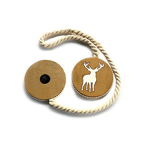 Bestmemories Pair of Elk Magnetic Curtain Holder Wooden Curtain Buckle Tiebacks Holdbacks with Cotton String/Magnet Elk Cotton Wire Handwork Solid Wood Carving Curtain Ties Strap Drapes Decor (2 PCS)
