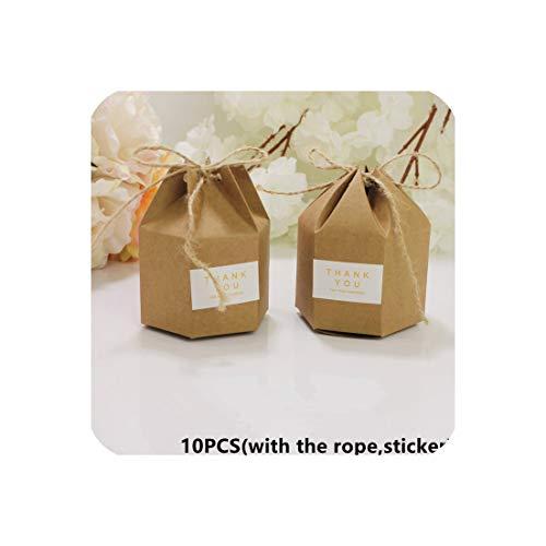 10Pcs Candy Dragee Box Kraft Gift Bag Wedding Favor Gift Boxes Pie Party Box Bag Eco Friendly Kraft Gift Bags Wrapping Supplies,Hexagon Kraft Box,7X4X9Cm