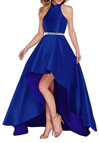 (Lamosi Women Halter High Low Beaded Prom Formal Dress Long Satin Evening Homecoming Party Gown Royal Blue Size 4)