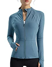 Bnigung Women's Long Sleeve Seamless Thumb Hole Workout Yoga Tops Jacket with Pockets