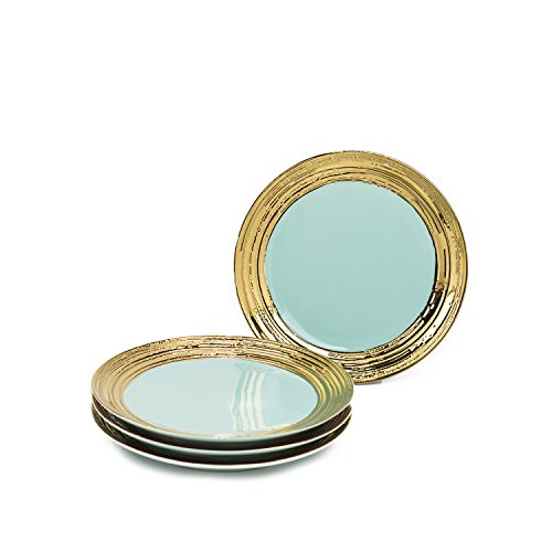 Deluxe Set Of 4 Ceramic Side Plates By Yedi Houseware – Aqua/Gold Plates For Appetizers, Entrees, Salad & More – The-Bautiful-Textured-Gold-Rim Design – 8
