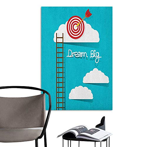 Alexandear Home Decor Decals Mural Inspirational Dream Big Phrase with Dart Board Fluffy Clouds Staircase Optimistic Attitude Multicolor School Dormitory Classroom W20 x H28
