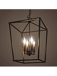 JINGUO Lighting Matte Square Cage Pendant Lighting Lamp Chandeliers Hanging  Lights Ceiling Light Fixture With 4