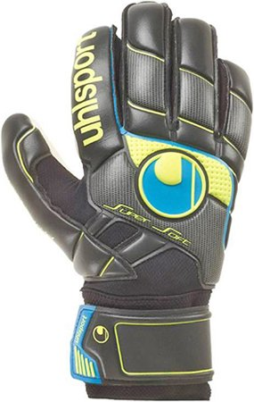 Uhlsport Player (Fangmaschine Pro Comfort Textile Soccer Goalie Gloves (Black/Cyan/Fluo-Yellow, Size 8))