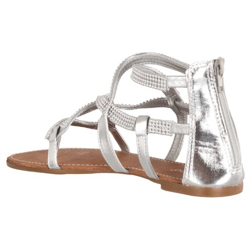 Metallic Beaded Bamboo detail Silver Sandals Gladiator Womens Promise Bamboo Womens 4RxIwzq1F