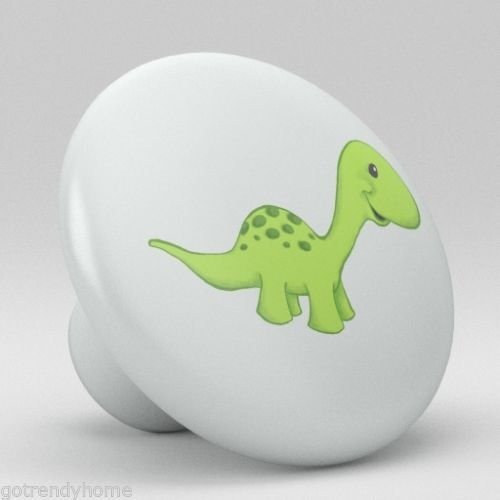 Cute Green Dino Baby Dinosaur Nursery Ceramic Knob Pull Door Closet Cabinet 1865 by gotrendyhome