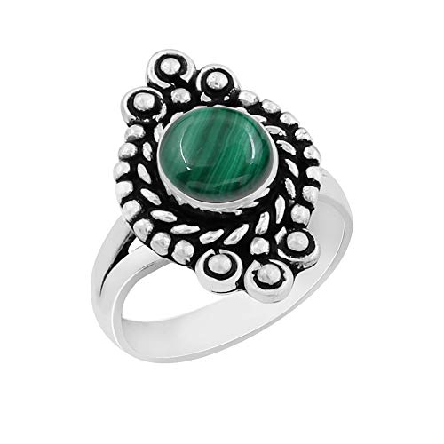 Genuine Round Shape Malachite Solitaire Ring 925 Silver Plated Vintage Style Handmade for Women Girls (Size-7) ()