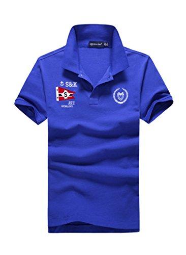 (シンアンドケン) sin&ken ポロシャツ メンズ シャツ 半袖 ポロ ゴルフウェア トップス XL ブルー [並行輸入品]