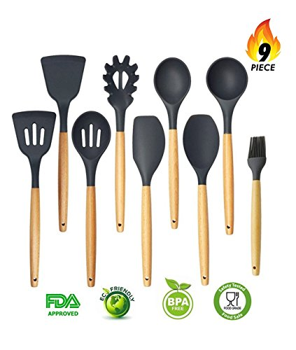 Silicone Kitchen Utensils 9-Piece Cooking Utensils Set with Wood Handles for Nonstick Cookware, Eco-Friendly, BPA Free, Non-Stick Silicone Cooking Utensils Set