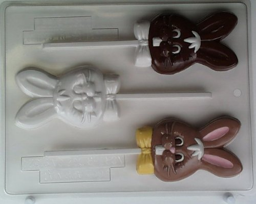 Easter Candy Chocolate Mold (Bunny's head w/buck teeth & bowtie E062 Easter Chocolate Candy Mold)