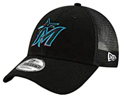 The Miami Marlins Trucker 9FORTY Adjustable features an embroidered team logo at the front panels with trucker fabrication and a woven tab displaying an alternate logo at the rear alongside an adjustable snap closure. Crown & Visor is 100...