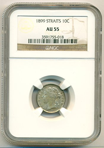 - 1899 MY Straits Settlements (Malaysia) - Victoria Silver 10 Cents AU55 NGC
