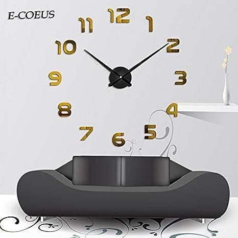 Amazon.com: Kamas reloj-pared Large Wall Clock Modern Design Mirror Wall Clock Sticker Living Room Home Decor Creative reloj de pared Unique Gift - (Color: ...