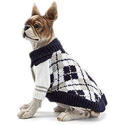 Scheppend Dog Pullover Jumpers Sweater Knit Pet Argyle Turtleneck Knitwear Winter Warm Coat, Dark Blue S
