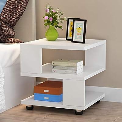 2-Layers Bedside Cabinet Bedroom Rack Nightstand Coffee Table Organizer Desk