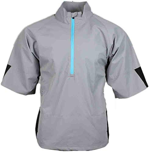 Mens Short Sleeve Windshirt - PAGE & TUTTLE Mens Short Sleeve Colorblock Windshirt Golf Athletic Outerwear Jacket Grey L