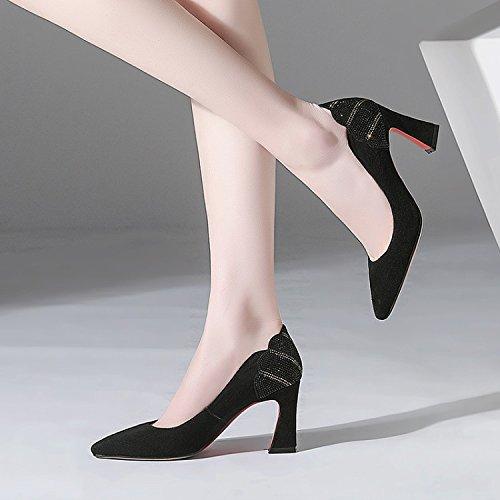 Talon épais femmes Singles Jqdyl hautsFemmes Black pour Shallow Talons Chaussures q1Zwav